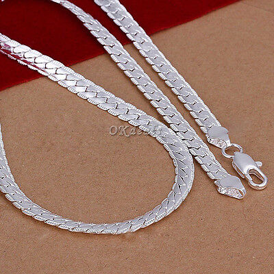 "5MM 925 Sterling silver plated Necklace Chain 20"" inch Fashion Men Women Best"