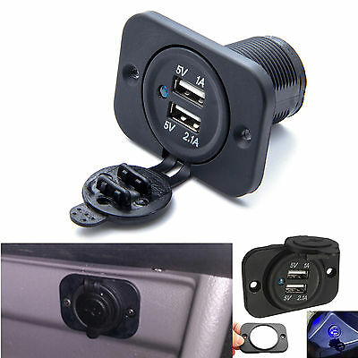 chargeur voiture double usb prise 12v 24v alimentation adaptateur voiture moto eur 5 35. Black Bedroom Furniture Sets. Home Design Ideas