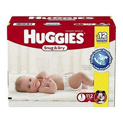 HUGGIES Snug & Dry Diapers, Size 1, 112 Count New