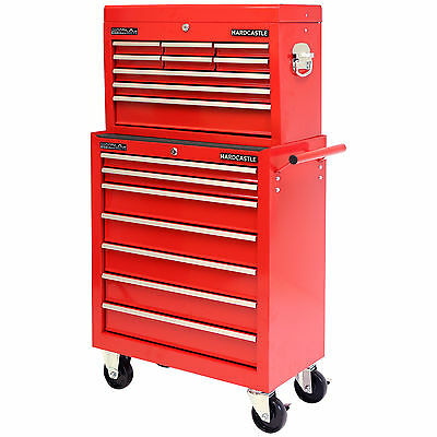 Hardcastle Red 16 Drawer Lockable Metal Tool Chest/box Storage Roller Cabinet