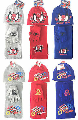 BOYS HAT SCARF GLOVES SPIDERMAN & CARS 3pc SET 2-8 YEARS BNWT