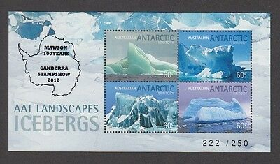 Aat Landscapes - Icebergs M/s Overprinted Canberra Stampshow 2012 (Jd5741)