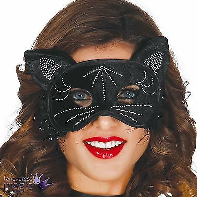 Black Cat Kitten Masquerade Halloween Fancy Dress Costume Eye Mask with Ears New