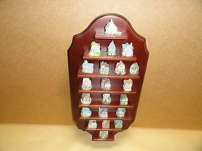 Princeton Gallery Lenox 1992 set Of 21 House Shaped Thimbles w/dispaly shelf