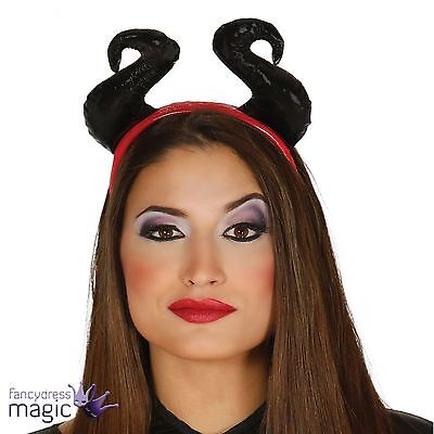 New Evil Queen Maleficent Black Horns Headpiece Headband Fancy Dress Costume Hat