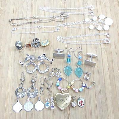 Lot of 26 Miscellanous Sterling Silver Rings, Pendants & Earrings Etc ~ 6-F3137