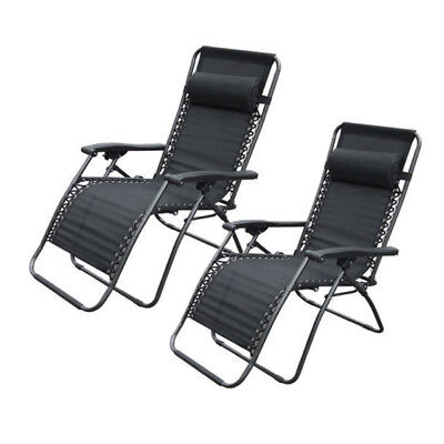 2 x Black Textoline Reclining Chair Zero Gravity Garden Lounger Deluxe Chairs