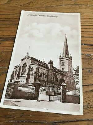 Old Postcard St Columbs Cathedral Londonderry