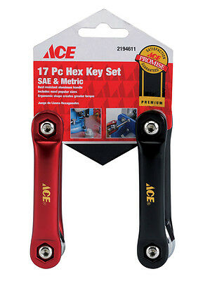 NEW! ACE Fold Up Metric & SAE Hex Key Set 17-Piece! HK2FSA