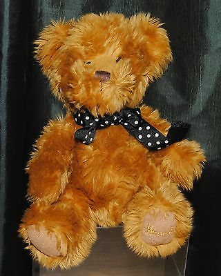 Harrods Small 10 Inch Brown Plush Teddy Bear Soft Toy With Black & White Ribbon