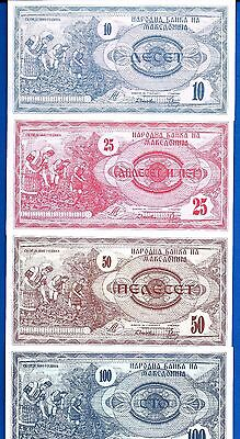 Macedonia P-1 P-2 P-3 P-4 Year 1992 Uncirculated Banknotes Set # 1