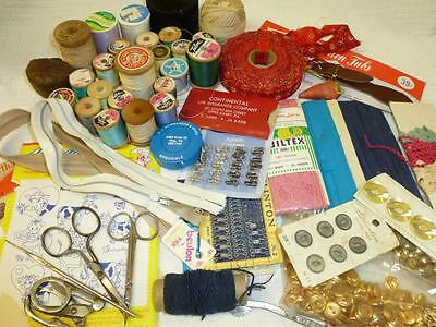 LOT Vintage SEWING NOTIONS Chest Box Contents Scissors Thread Tape Measure