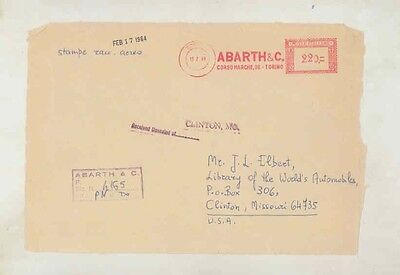1964 Abarth Fiat Italy ORIGINAL EMPTY Factory Mailing Envelope INCOMPLETE ww0322