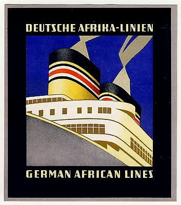 Reederei DEUTSCHE AFRIKA-LINIEN DAL * Old ART DECO Luggage Label Kofferaufkleber