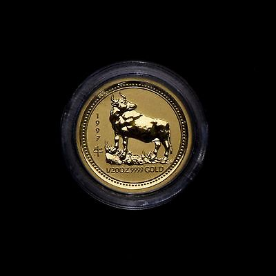 1997 Perth Lunar Series Year Of The Ox  1/20 Oz .9999 Gold Coin In Mint Cap