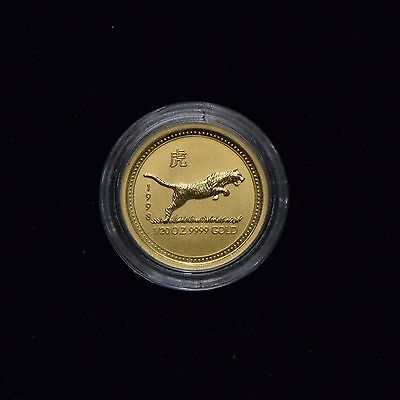 1998 Perth Lunar Series Year Of The Tiger  1/20 Oz .9999 Gold Coin In Mint Cap