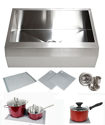 "33"" Stainless Steel Arrow Front Style Farm House Apron Kitchen Sink Single Bowl"