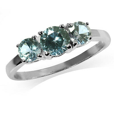 3-Stone Simulated Color Change Alexandrite 925 Sterling Silver Ring
