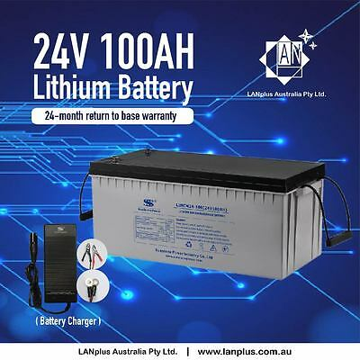 Lithium Battery 24V 100AH w/ equal to 12V 100AHx2 Charger Solar Scooter Mobility