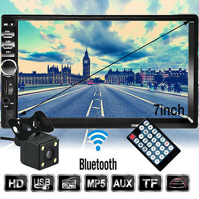 "Camera+Double 2 Din 7"" In Dash Stereo Car MP3 Player Bluetooth FM Radio iPod SD"