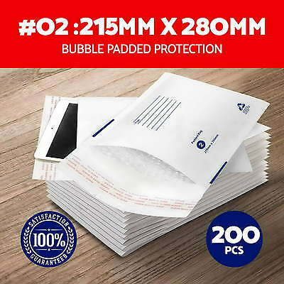 NEW 200x #02 Bubble Padded Bag Envelope 215x280mm Mailer White Printed Size 02