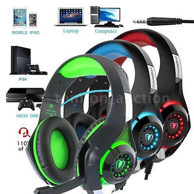 3.5mm Gaming Headset Headphone LED with Mic for PS4 Xbox One Mac PC iOS Android
