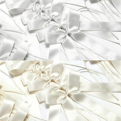25x Silk Wedding Pew End Bows Ribbon Decoration Chairs Cars Gift Wrap 23 X 12cm