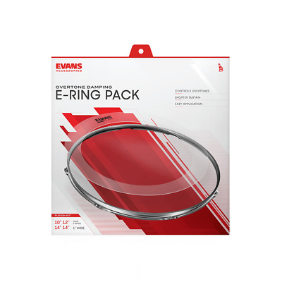 """Evans E-Ring Fusion Pack 10"""" 12"""" & 2 x 14"""". External Overtone Control Ring."""