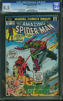 AMAZING SPIDER MAN # 122  US MARVEL 1973 Death of Green Goblin  CGC 8.5 VFN+