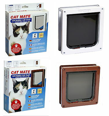 Cat Mate Door Lockable Flap & Tunnel Liner White  Brown 234