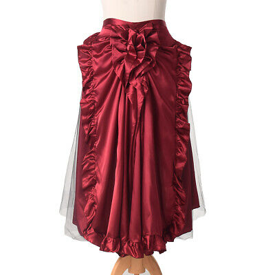 Victorian Ruffle Bustle Skirt/Cape Women SteamPunk Retro Gothic Reenactment Cape