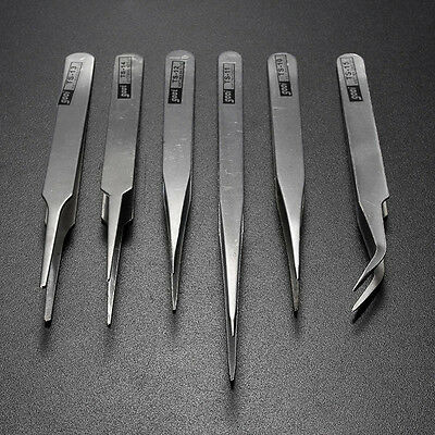 6 pcs All Purpose Precision Tweezer Set Stainless Steel Anti Static Tool Kit Hot