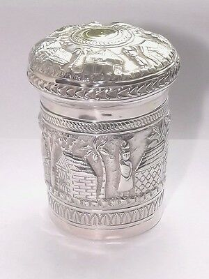 SPLENDID ANTIQUE ASIAN INDIAN 143g SOLID SILVER TEA CADDY CANISTER BOX POT c1900