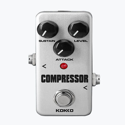 Silver Electric Guitar Compressor Effect Pedal Compression with True Bypass