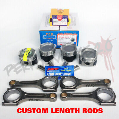 YCP 75mm D16 Vitara Pistons + NPR Rings & Custom Length Rods TEFLON ARP2000 Kit