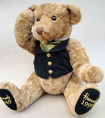 Harrods Teddy Bear 150th Anniversary Golden Plush 19in Jointed 1999 Ascot Vest