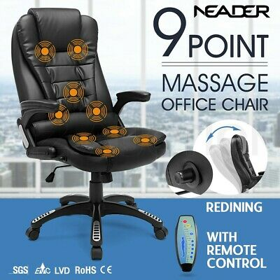 9 Point Massage Office Computer Chair PU Leather Executive Recliner Seat - Black
