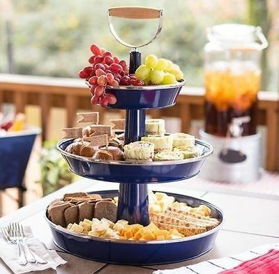 Food Serving Tray 3 Tier Metal Snack Party Stand Galvanized Steel Fruit Cheese
