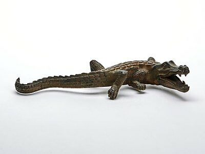Antique Austrian Cold Painted Bronze Crocodile Early 20Th C.