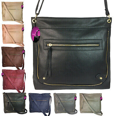 Across Cross Body Handbag Messenger Bag Large Big Long Shoulder Strap Ladies Zip