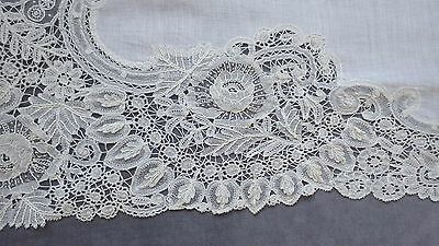 BRUSSELS MIXED Lace Runner w 8 POINT DE GAZE Roses,  Double Layer Leaves 43.5x17