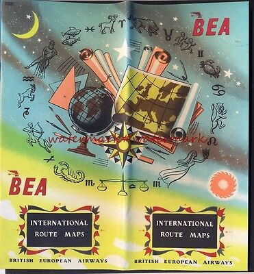 1953 BEA 20-page ROUTE MAP Booklet. Very good Condition. Free UK Postage
