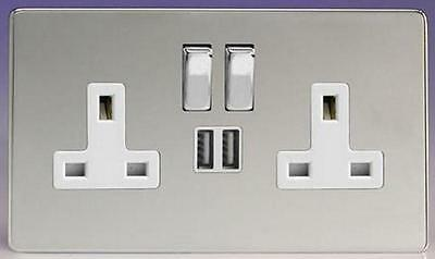 Polished Chrome Double Socket Usb 13A 2 Gang Electric Wall Plug Socket Usb