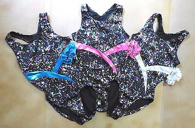 NWT Axis Gymnastic Leotard Foil Iridescent Spatter 3 Color Choices Girls Ladies