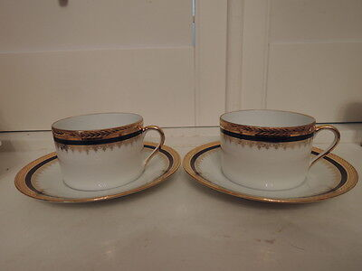 Vintage Limoges Pair of Cup & Saucer Tradition Blue & Gold