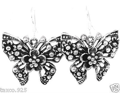 Taxco Mexican 925 Sterling Silver Butterfly Floral Flower Earrings Mexico