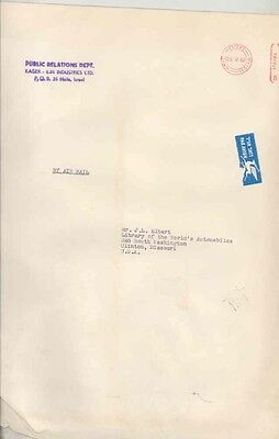 1962 Kaiser Lin Industries Israel ORIGINAL EMPTY Factory Mailing Envelope ww0446