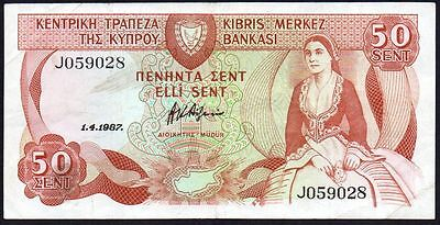 1987 Cyprus 50 Cents Banknote * J 059028 * Vf+ * P-52 *