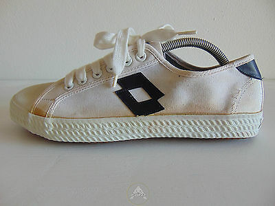 Vintage 80 LOTTO Scarpe 43 Tela Canvas Sneakers Trainers Shoes Bianco White