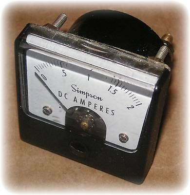 "Meter, Wide-Vue, DC Amps, 0-2, 1-½"" Square, (Simpson #1212 02432) (Used)"